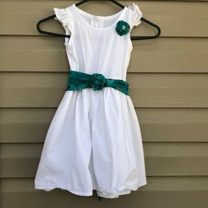Other - White/ blue girls short  sleeves dress